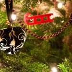 挂圣诞树圣诞球 — 图库照片