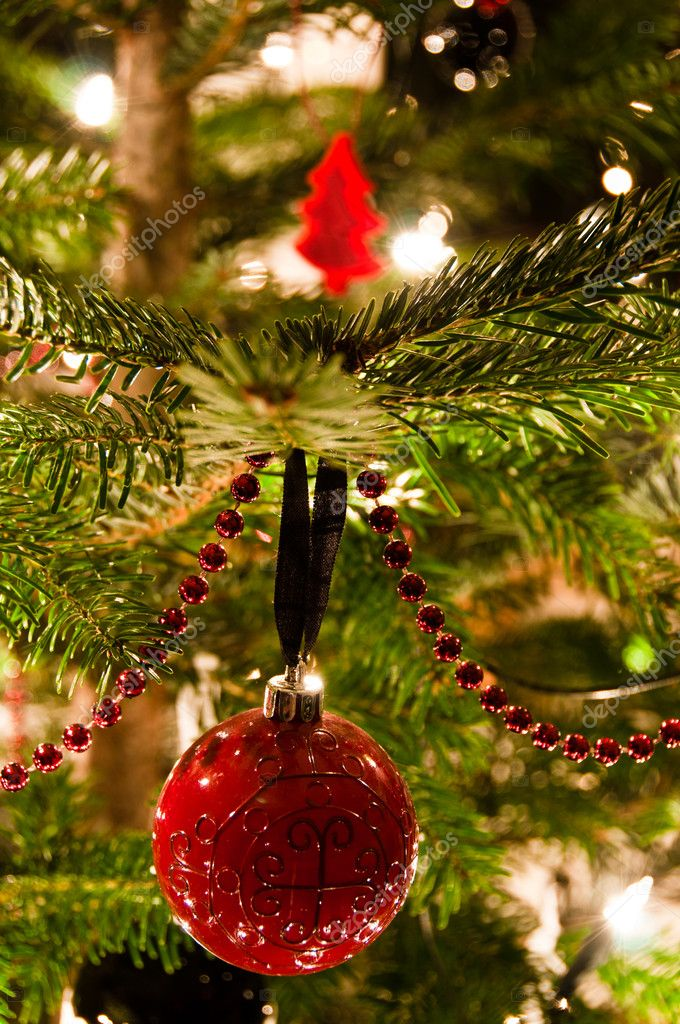 Various Christmas balls hanging from Christmas tee  Stock Photo #4541864