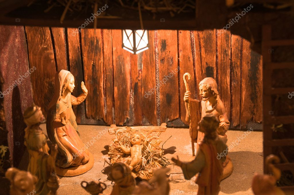 Christmas Nativity scene of the holy family for religious greeting card or background — Stock Photo #4550437