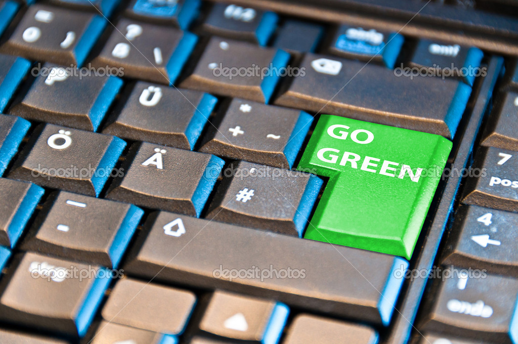 Keyboard with return key reading Go Green — Stock Photo #5176531