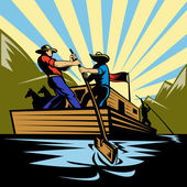 Cowboy man steering flatboat along river — Stock Photo