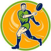 çalışan ve topu geçen rugby oyuncusu — Stok fotoğraf