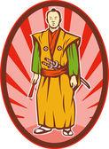 Samurai warrior with katana sword and fan — Stock Photo