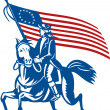 American revolutionary general riding horse Betsy Ross Flag — Stock Photo