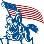 Постер, плакат: American revolutionary general riding horse Betsy Ross Flag