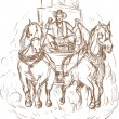Cowboy stagecoach driver and horses front — Stock Photo