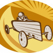 Soap box derby car racing with sunburst — Stock Photo