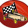 Soap box derby racing with race flag — Stock Photo #4205575