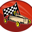 Soap box derby racing with race flag — Stock Photo
