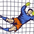 Stock Photo: Soccer football goalie keeper saving goal
