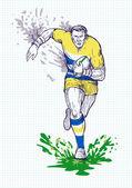 Giocatore di rugby in esecuzione e passando la palla — Foto Stock