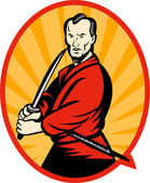 Samurai warrior with katana sword — Stock Photo