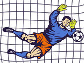 Soccer football goalie keeper saving goal — Stock Photo
