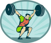 Weightlifter lifting heavy weights — Stock Photo