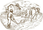 Farmer and horse plowing the field with barn farmhouse — 图库照片