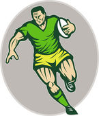 Rugby player running with ball — Stock Photo