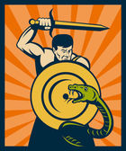 Warrior with sword and shield striking a snake or serpent — Stock Photo