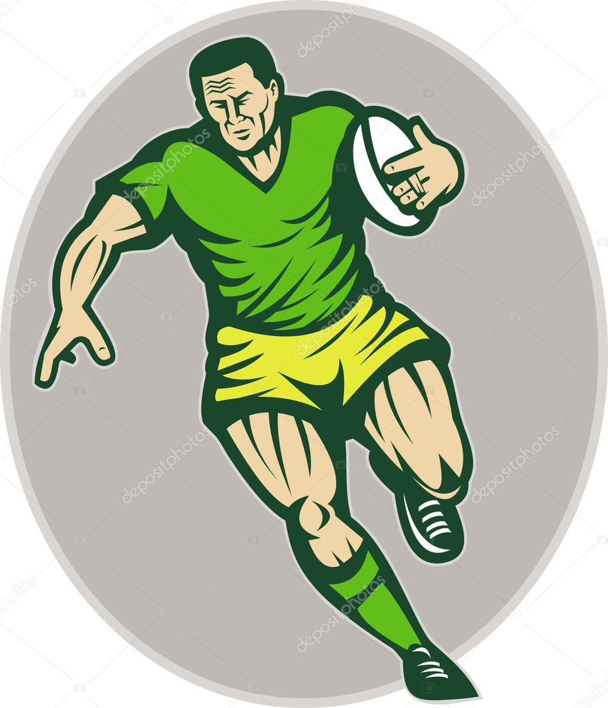 Ill;ustration of a Rugby player running with ball — Stock Photo #4205958