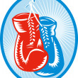 Red and blue boxing gloves - Stock Photo