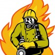 Fireman or firefighter with fire hose - Stock Photo