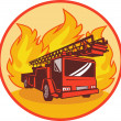 Fire truck or engine appliance with flames - Stock Photo