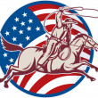 Cowboy riding horse with lasso and american flag - Stock Photo
