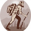 Miner prospector hunter trapper hiking - Stock Photo