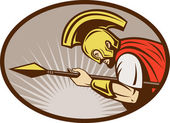 Roman soldier or gladiator attacking with spear — Stock Photo