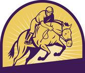 Saut d'obstacles équestre avec cheval — Photo