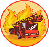 Fire truck or engine appliance with flames — Stock Photo