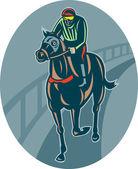 At ve jokey yarış pisti yarışı — Stok fotoğraf