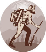 Miner prospector hunter trapper hiking — Stock Photo
