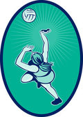 Netball player rebounding jumping for bal — Stock Photo
