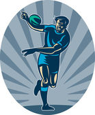 Rugby player running with ball and passing — Stock Photo