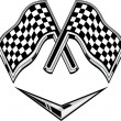 Stock Photo: Metallic racing checkered flag crossed