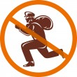 Stock Photo: Sign of no burglar thief running with loot