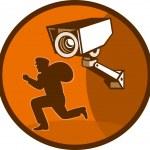 Security surveillance camera burglar thief running — Stock Photo