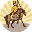 Warrior with shield and sword on horse — Stock Photo #4222253