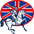 Knight on horse with lance and British flag - Stock Photo