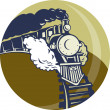 Steam train or locomotive coming up — Stock Photo