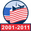 Stock Photo: Americflag with twin tower building 2001-2011