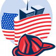 Stock Photo: Americflag with twin tower building firefighter helmet