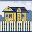 Stock Photo: House with picket fence