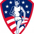 Royalty-Free Stock Photo: American Marathon athlete sports runner shield