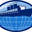 Ocean passenger  liner boat ship globe — Stock Photo