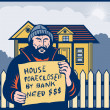 Homeless man or hobo sign foreclosed house — Stock Photo