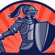 Knight with sword and shield facing side — Stock Photo