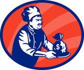Chef boulanger ou cuisinier en servant de sac d'argent — Photo