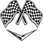 Bandeira quadriculada de corridas metálico atravessada — Foto Stock