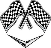 Metallic racing checkered flag crossed — Foto Stock
